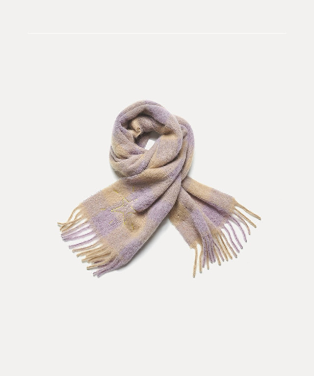 écharpe en gaze de laine tartan