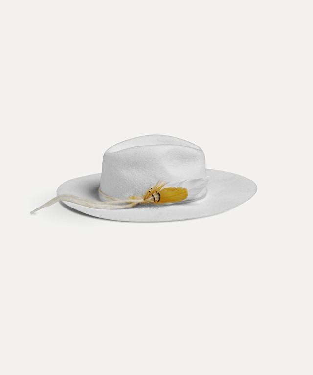 chapeau en feutre avec plumes