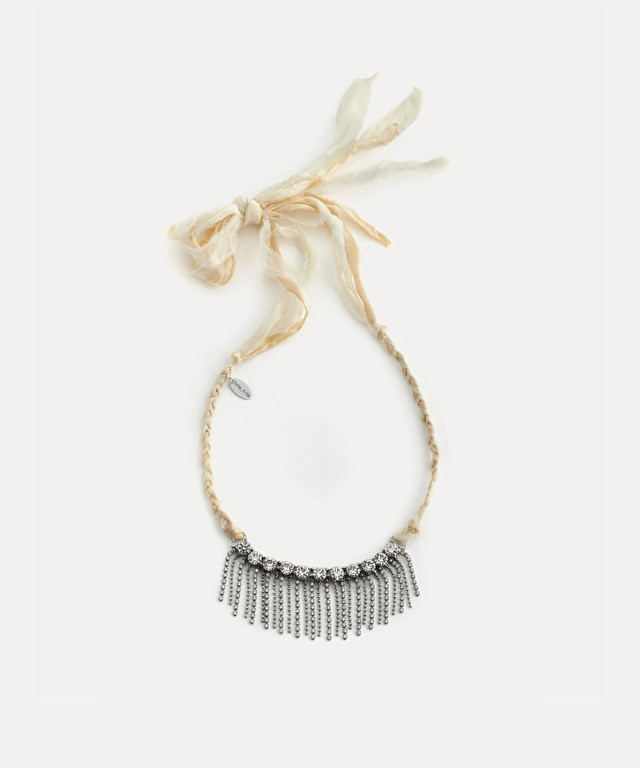choker with crystals and fringing