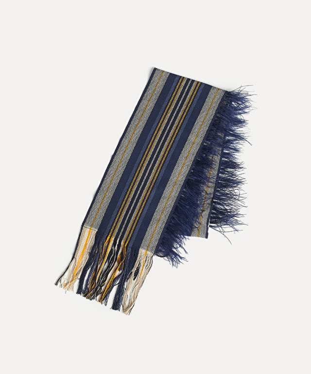 striped scarf with feather trim