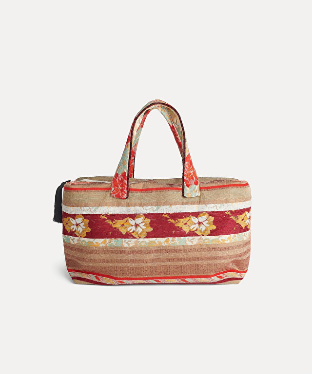 "jacquard fabric bag with ""st barts"" print"