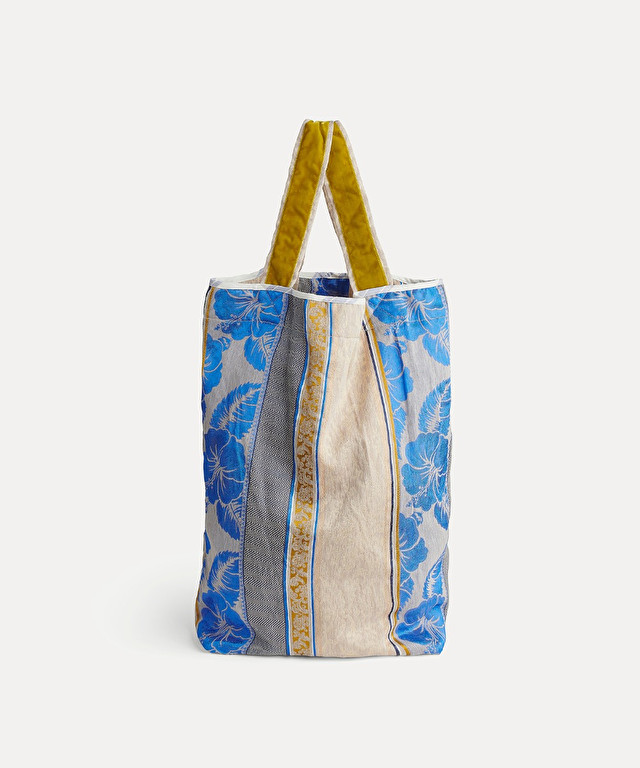 "jacquard fabric shopper with ""st barts"" print"