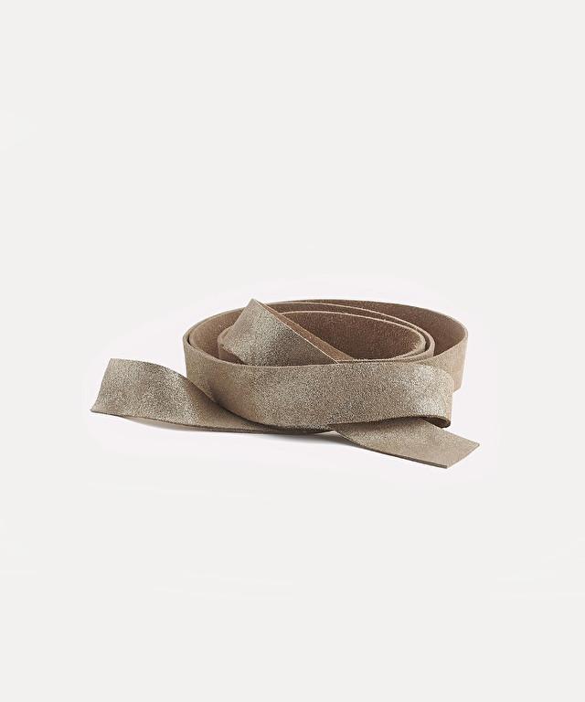 lamé nubuck tie-belt