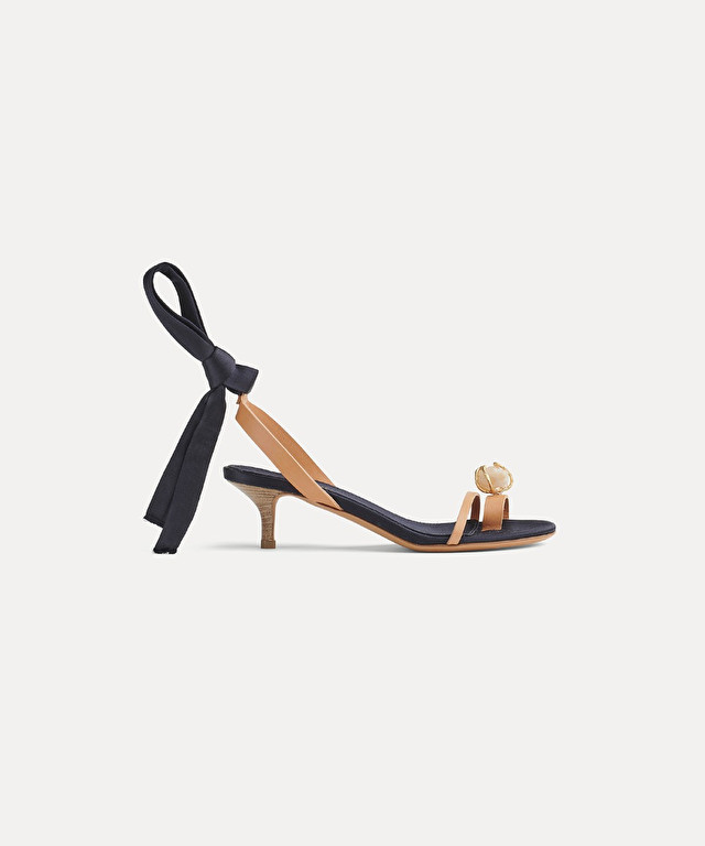 bejewelled heeled sandal with satin ribbon detail