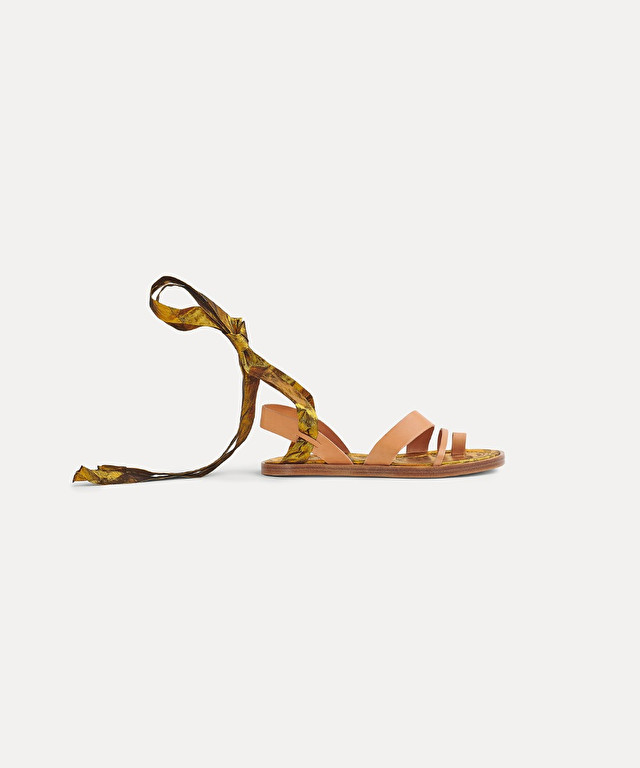 bejewelled sandal with satin ribbon detail