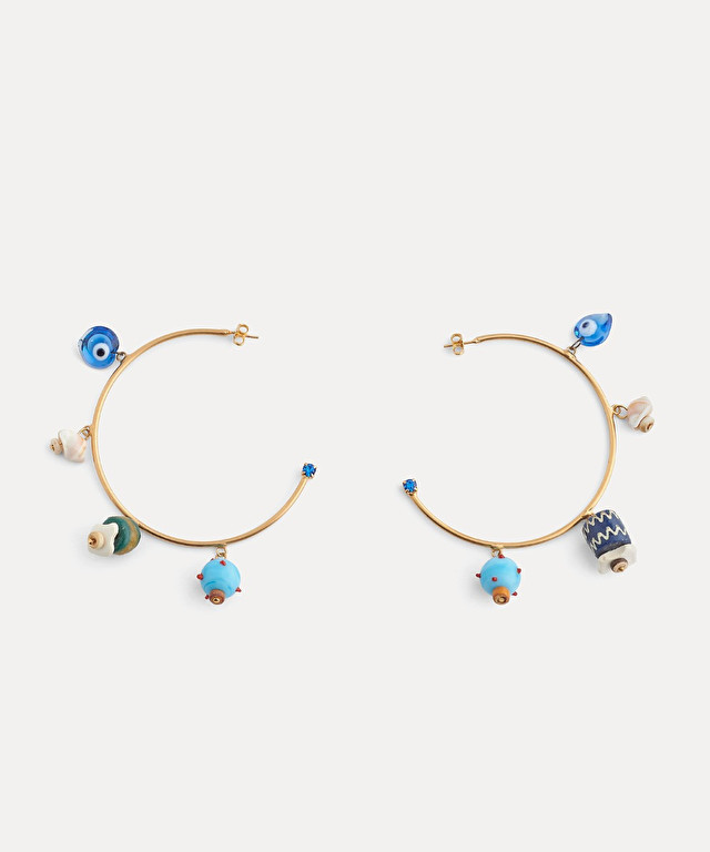 hoop earrings with glass and pearl details