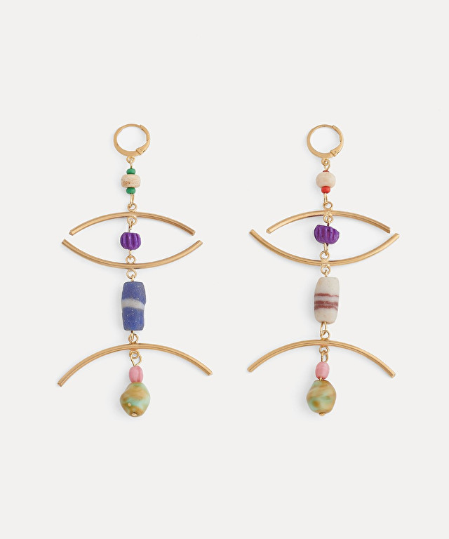 drop earrings with glass and pearl details