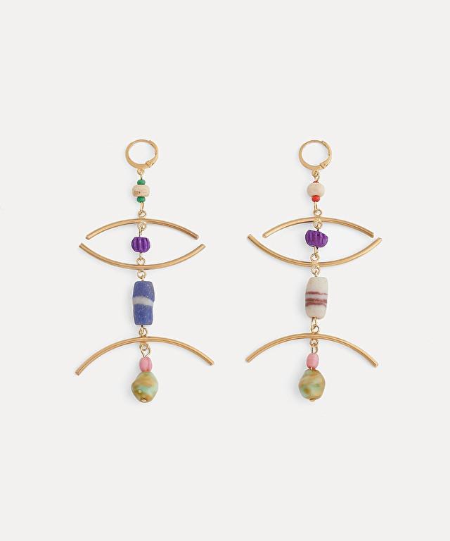 boucles d'oreille pendantes avec petites perles et verres