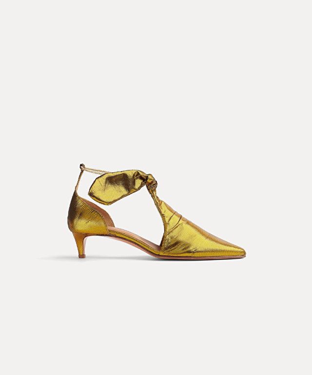 shoe with knot detail in lurex taffeta