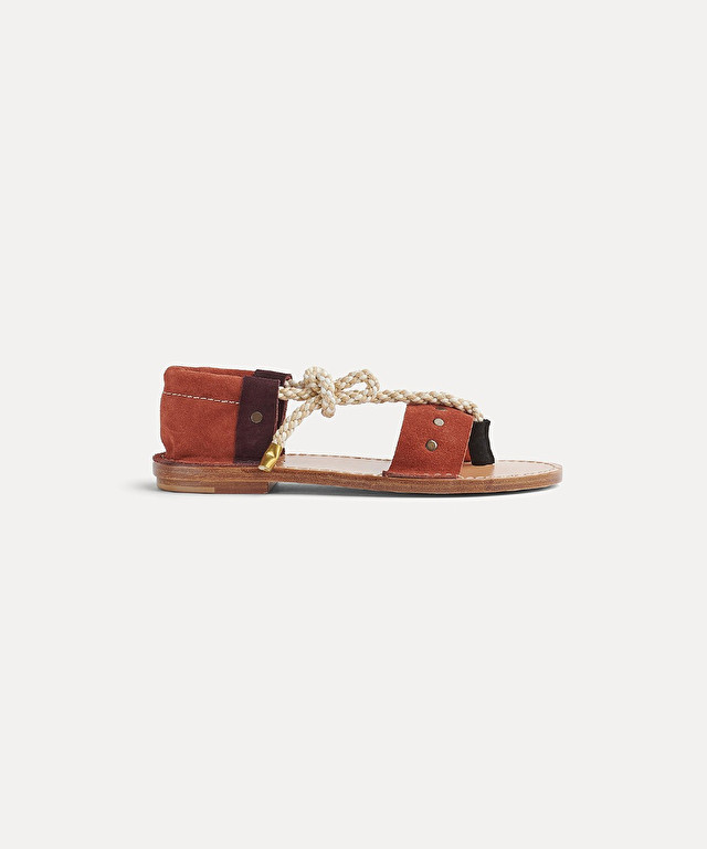 berber sandal in two-tone suede