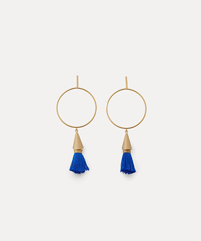 hoop earrings with decorative tassels