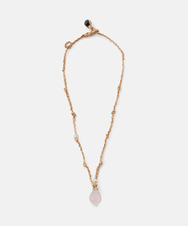 short necklace in braided silk with stone embellishment
