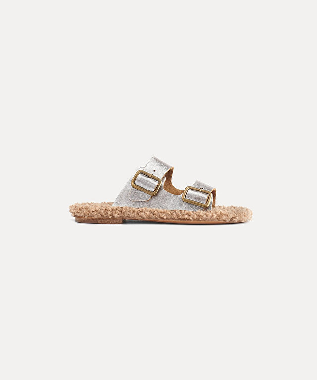 buckled sandal in lamé calfskin and eco shearling