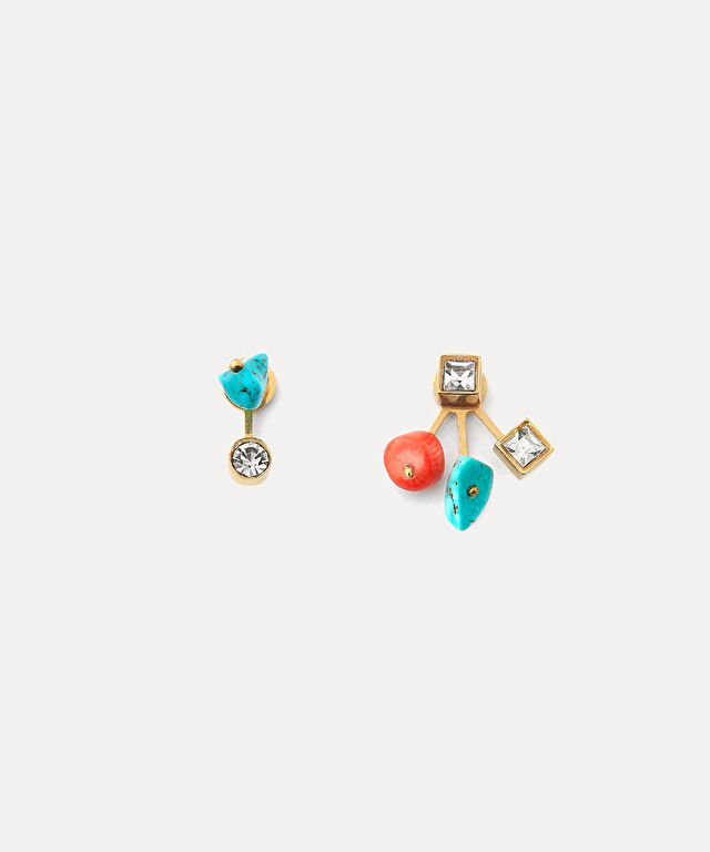 dangling earrings with crystals and turquoises