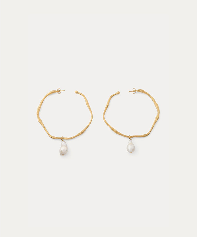 sculptural earrings with pearl embellishment