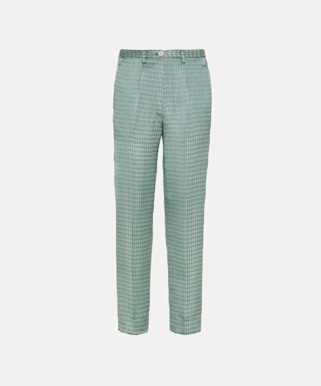 trousers in fluid houndstooth jacquard