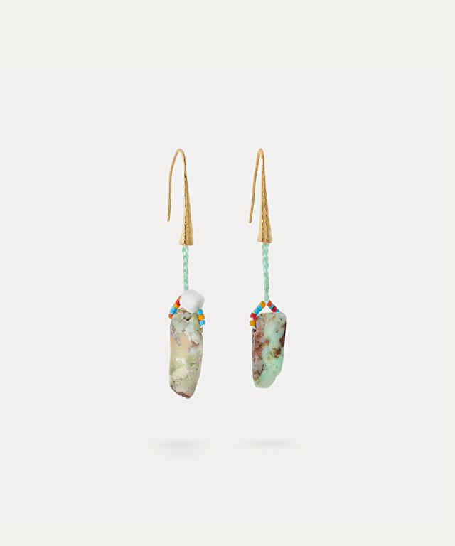 earrings with crochet work and natural stones