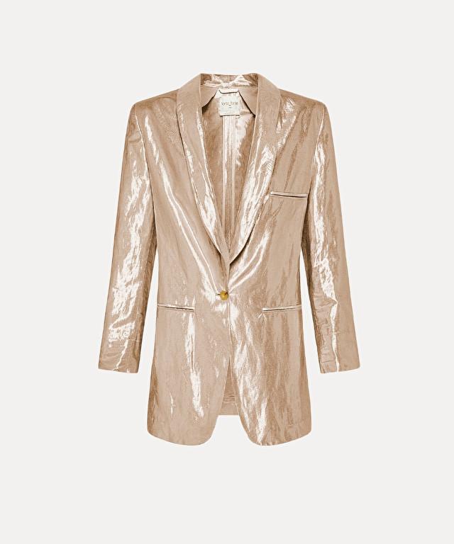 blazer in a viscose linen blend with lurex
