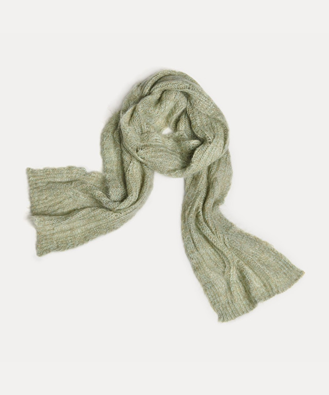 mohair scarf with cable stitch