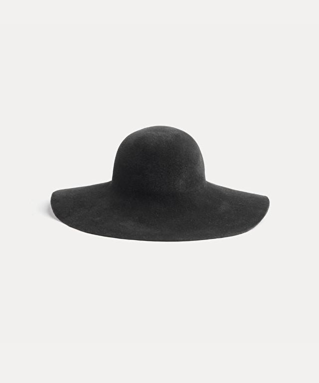 velour wide-brim hat