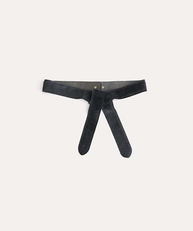 pony-skin belt with ties