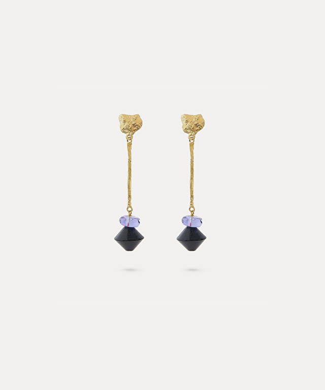 earrings with glass pendant