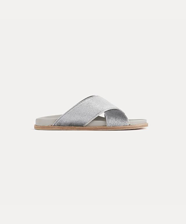 sandales en poulain et cuir nappa