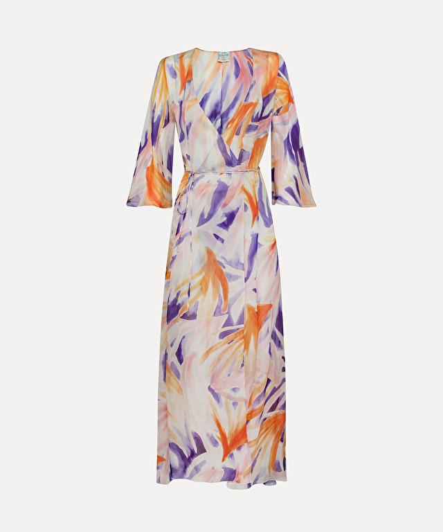 "crossover dress in ""floral painting"" silk chiffon"