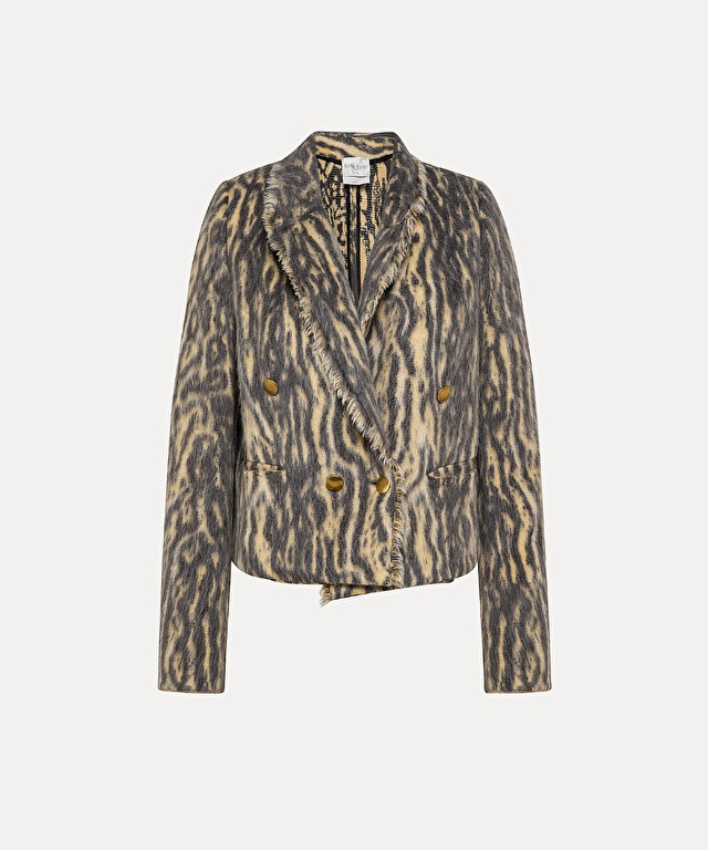 short jacquard jacket with animal-print pattern