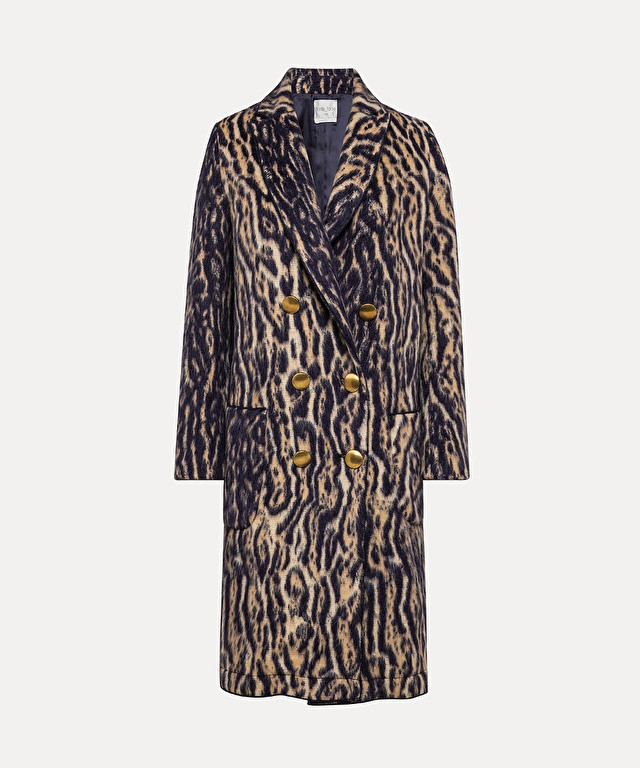 double-breasted jacquard coat with animal-print pattern