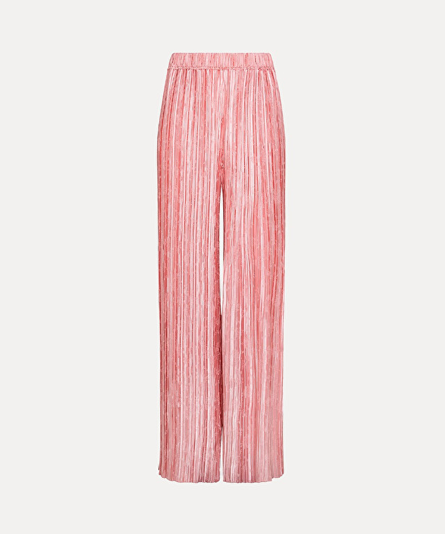 palazzo pants in pleated jacquard satin