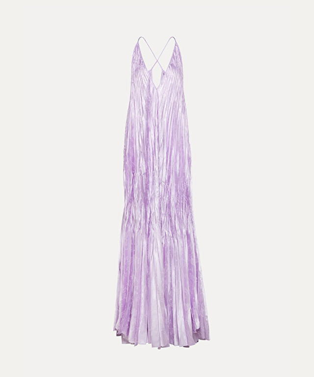 dress in pleated jacquard satin