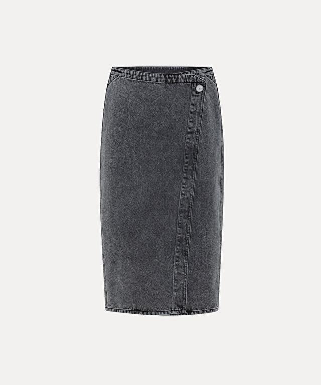 black denim wraparound skirt