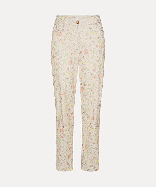 """velvet trousers with """"a flower in the snow"""" print"""
