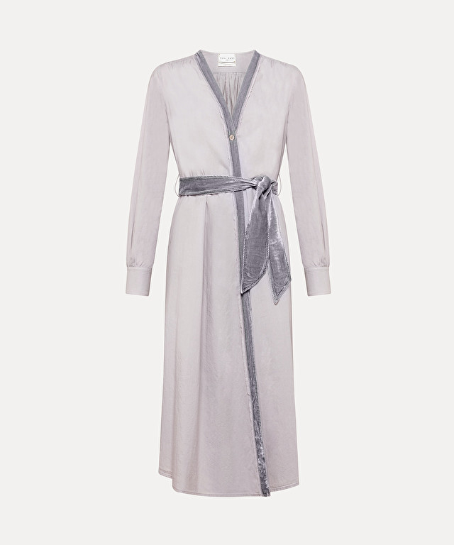 long dress with belt in cotton poplin