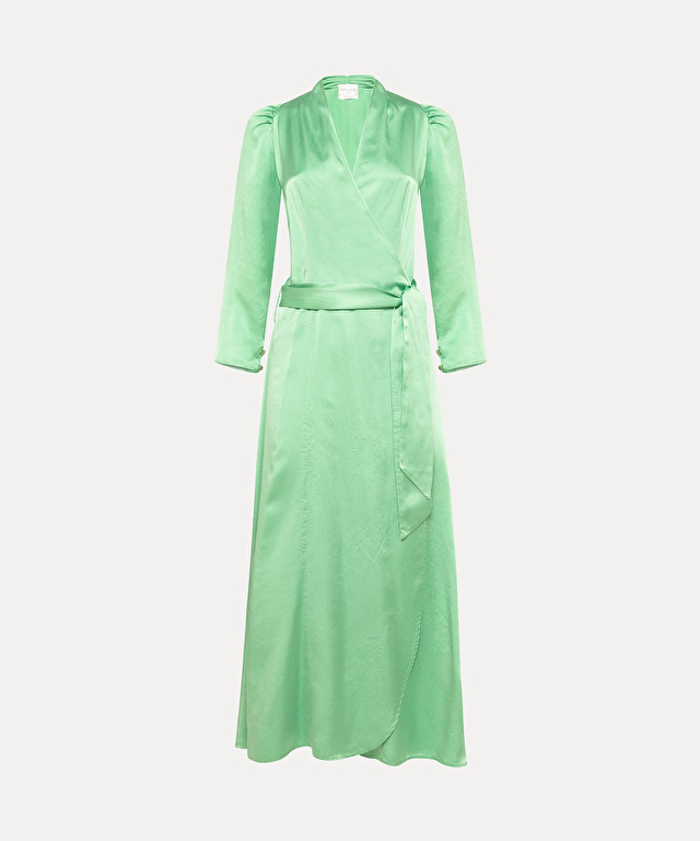 wrap dress in cloqué silk satin