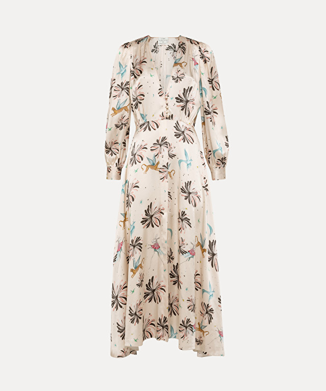 "shirtdress in silk satin with ""fiaba"" print"