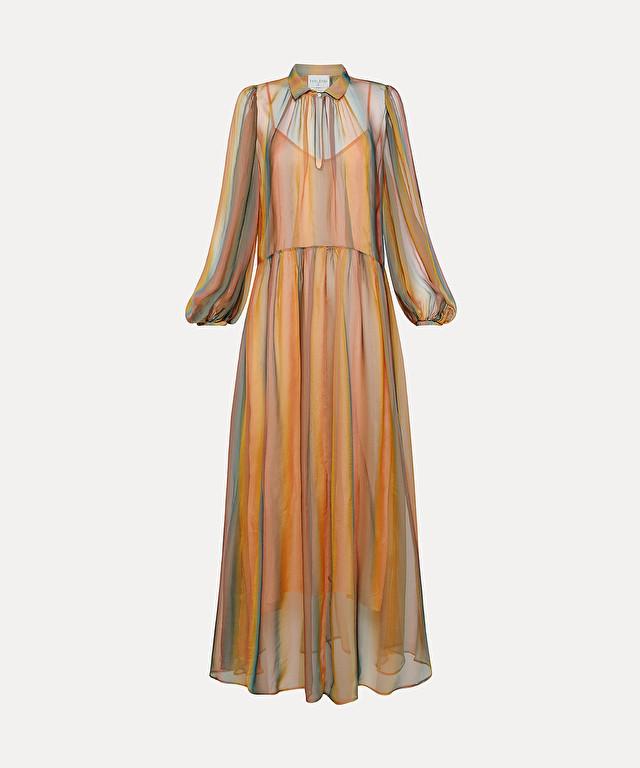 longline dress in rainbow silk chiffon