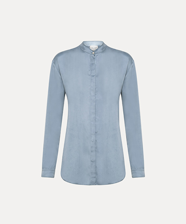 long-sleeve shirt in cupro satin