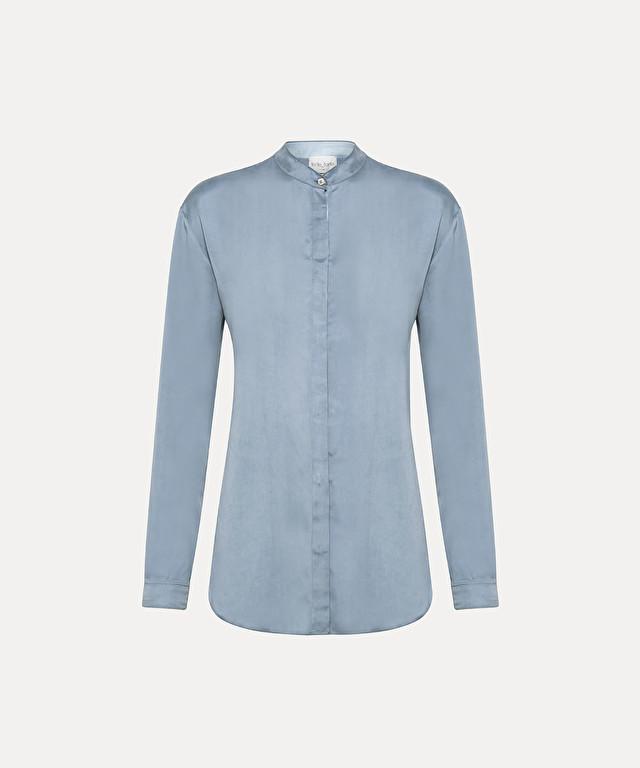 camicia manica lunga in raso di cupro