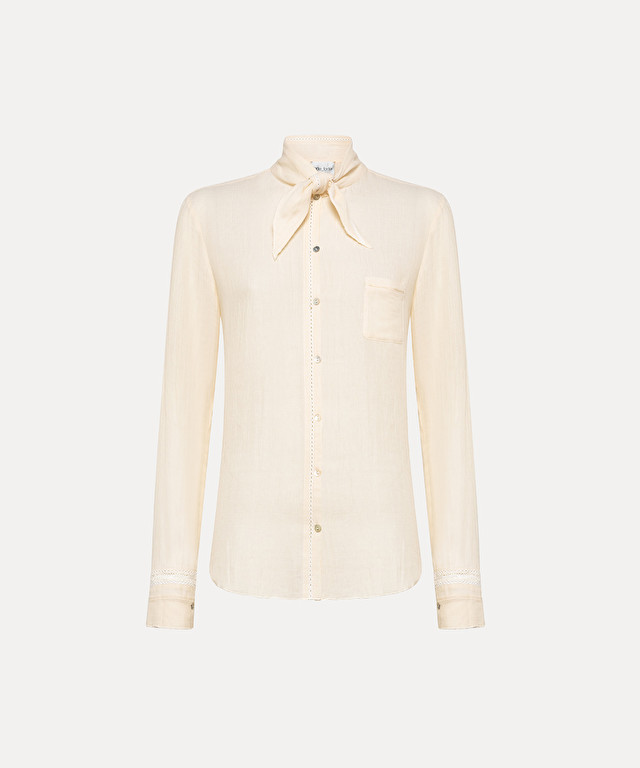 shirt in gauzy cotton with bow detail