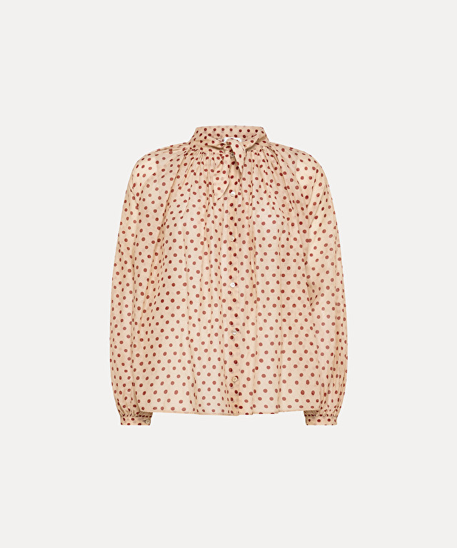 """pois gitans"" shirt in cotton-silk voile with bow detail"