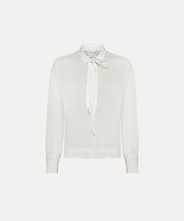 chemise en voile de soie et coton avec nœud