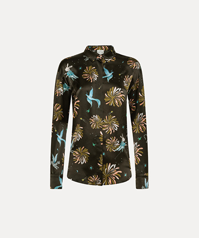chemise over size en satin de soie imprimé « fiaba »