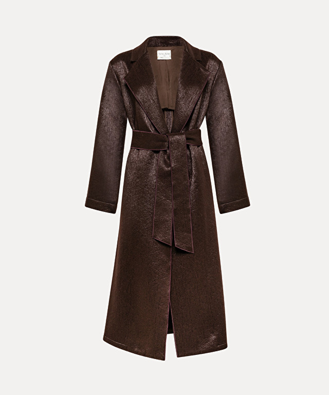 belted longline coat in wool cloth