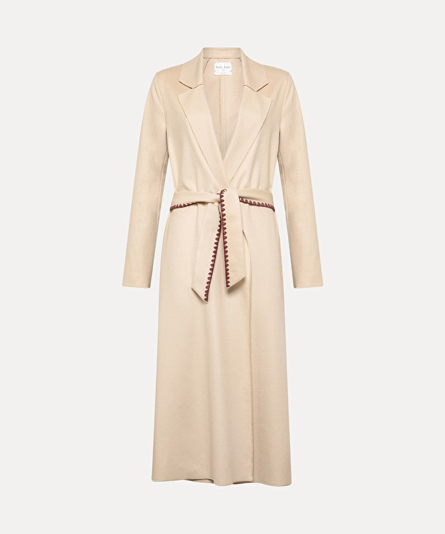 longline coat in pure wool cloth with embroidered detailing