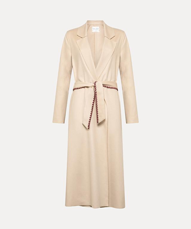 manteau long en tissu de pure laine avec broderies