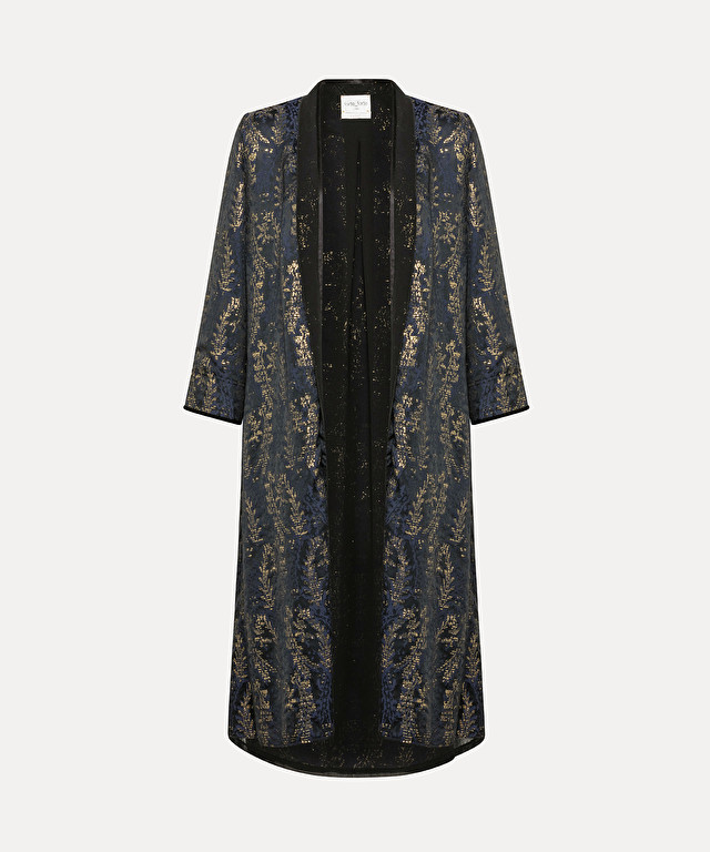 "coat in ""gipsy gold"" jacquard fabric with lamé detailing"