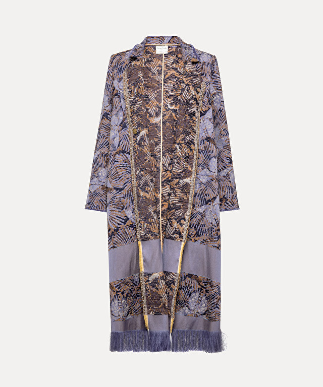 "single-breasted ""les papillons"" jacquard coat"
