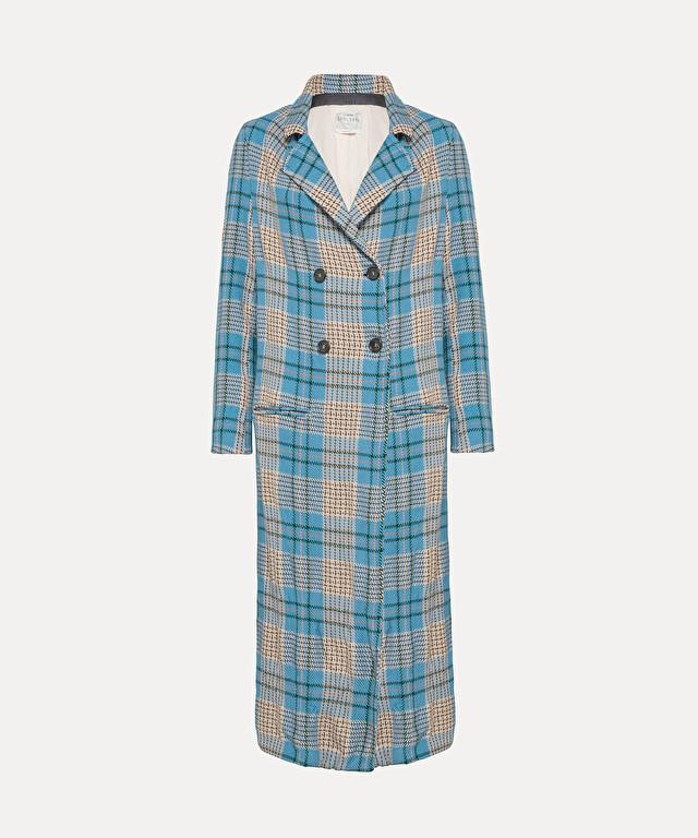 longline coat in tartan
